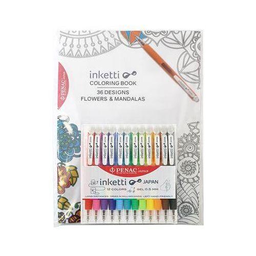 Zestaw długopisów automatycznych w etui PENAC Inketti, 0,5mm, 12szt., książka, mix kolorów, PBA3601EF-99