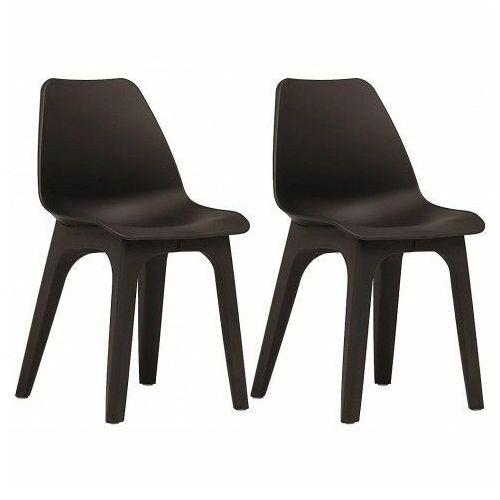 Wodoodporne krzesła tarasowe abila 2szt - brązowe marki Elior