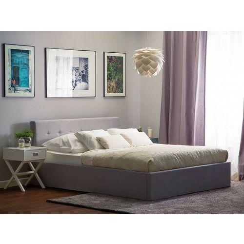 Łóżko jasnoszare - 180x200 cm - ze skrzynią na pościel - LORIENT (7105279908354)