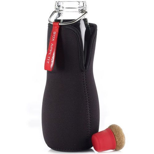 Szklana butelka na wodę z filtrem i w pokrowcu Eau Good Black Blum czerwona (EGG004)