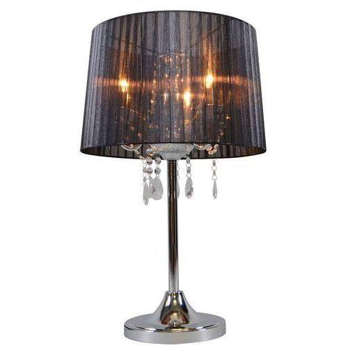 Klasyczna lampa stołowa chrom z czarnym kloszem - ann-kathrin 3 marki Qazqa