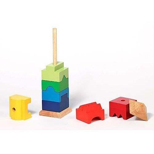 Goki Drewniana układanka na patyku wieża, zestaw klocków, 58893