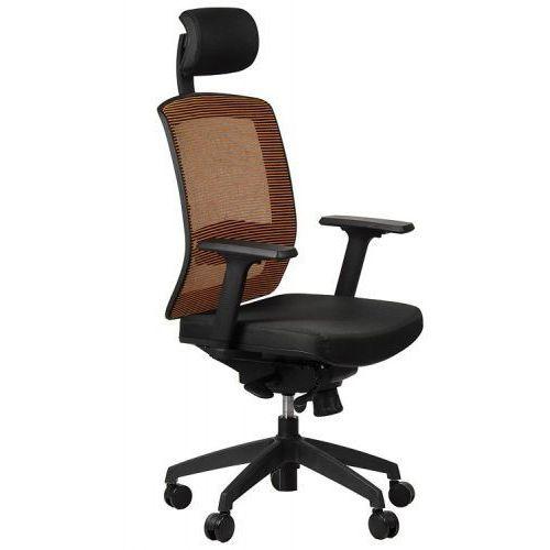 Fotel obrotowy biurowy GN-301/POMARAŃCZ z wysuwem siedziska krzesło biurowe obrotowe, GN-301/BLACK/ORANGE