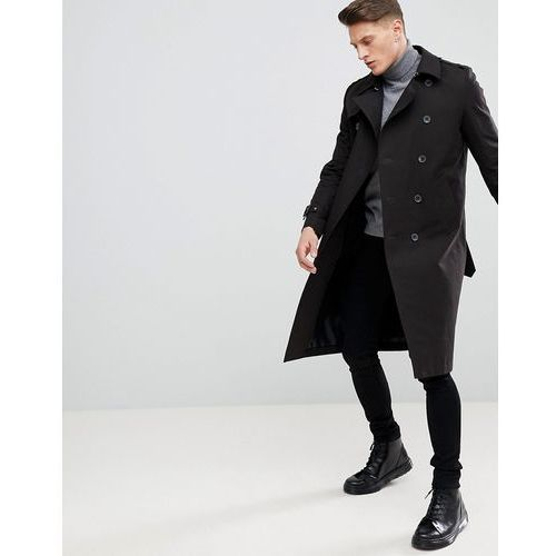 ASOS DESIGN shower resistant longline trench coat with belt in black - Black, kolor czarny