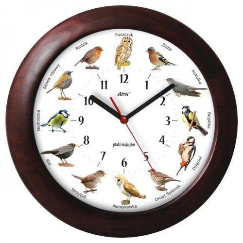 Duży drewniany zegar z głosami ptaków #2