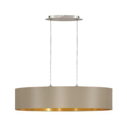 Lampa wisząca Eglo Maserlo 31618 z abażurem 2x60W E27 cappucino/złoty