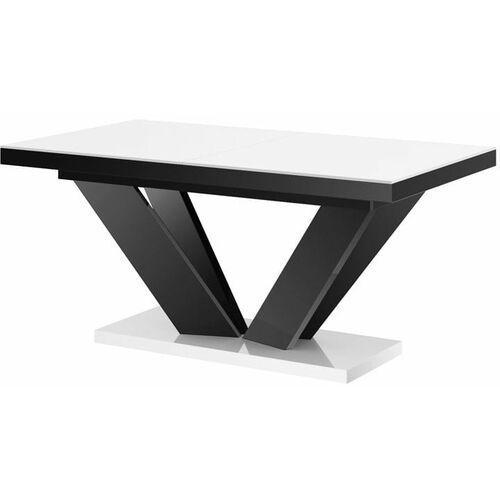 Hubertus Stół rozkładany viva 2 160-256 biało-czarny połysk