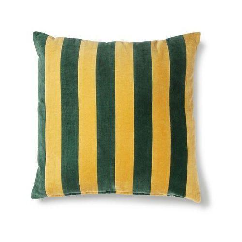 HKliving Poduszka velvet w paski zielony/musztardowy (50x50) TKU2076
