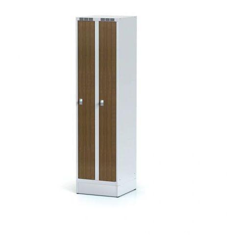 Alfa 3 Szafka ubraniowa wąska, drzwi lpw, orzech, na cokole, zamek cylindryczny