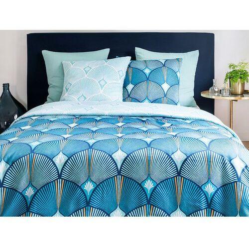 Pościel satynowa SHELLY - poszwa na kołdrę 220 x 240 cm + 2 poszewki na poduszkę 63 x 63 cm - niebieska