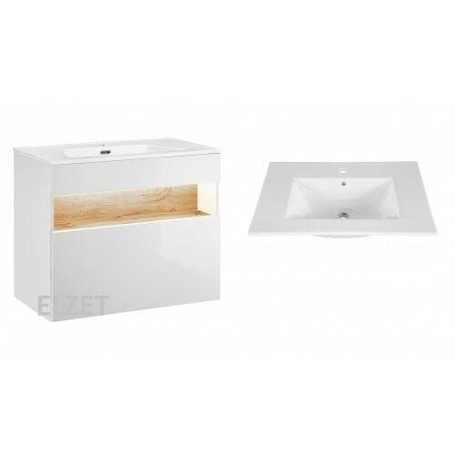 COMAD szafka Bahama White biała/dąb wotan + umywalka Lava 80 BAHAMAWHITE821+CFP-80D, BAHAMAWHITE821.CFP-80D
