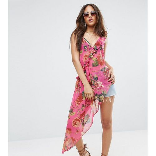 asymmetric cami with ruffle in bright pink floral - multi, Asos tall