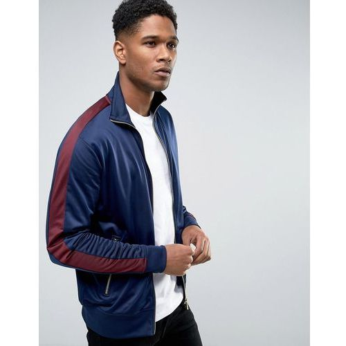 New Look Track Jacket In Navy With Burgundy Stripe - Navy