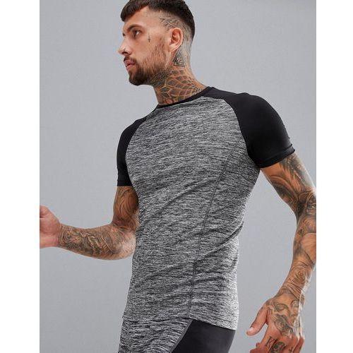 muscle t-shirt in grey marl with contrast raglan - grey marki Asos 4505