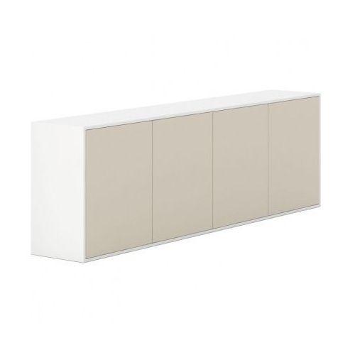Szafka z drzwiami długa White LAYERS, beżowe drzwi