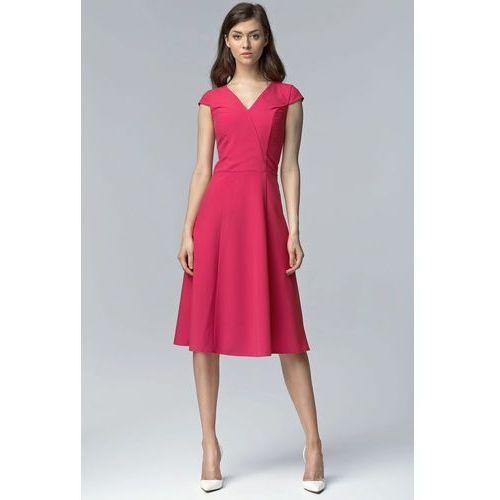 Nife Fuksja koktajlowa sukienka bez rękawów z szerokim dołem za kolano