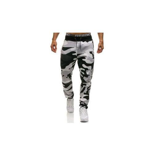 Spodnie męskie dresowe joggery moro-szaro-pomarańczowe denley 0801 marki Athletic