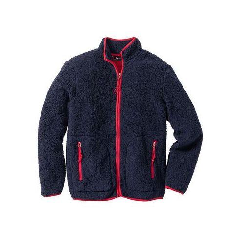 Bluza z polaru typu baranek, Regular Fit bonprix ciemnoniebiesko-ciemnoczerwony