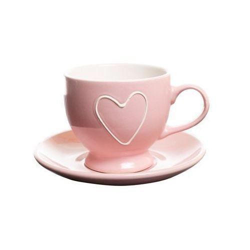 Filiżanka z wytłoczonym sercem różowa ceramika marki Home