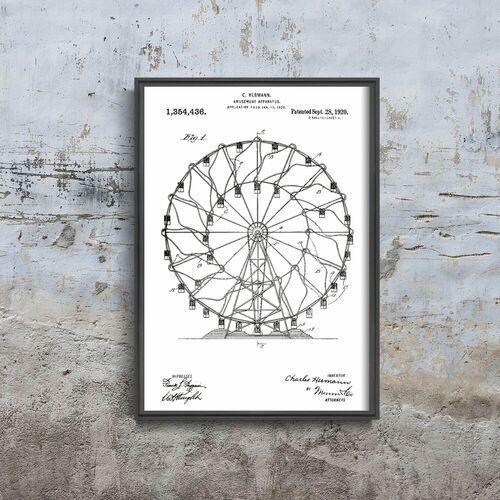 Vintageposteria.pl Plakat do pokoju plakat do pokoju ferris wheel hermann patent