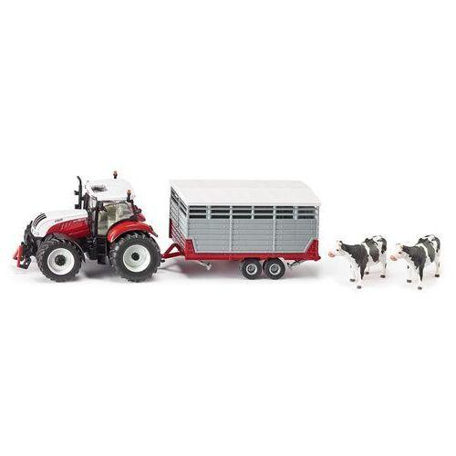 Siku farmer 3870 traktor Steyr z przyczepą zwierzętami