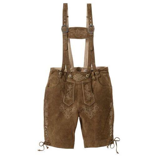 Krótkie spodnie skórzane oliwkowy marki Bonprix