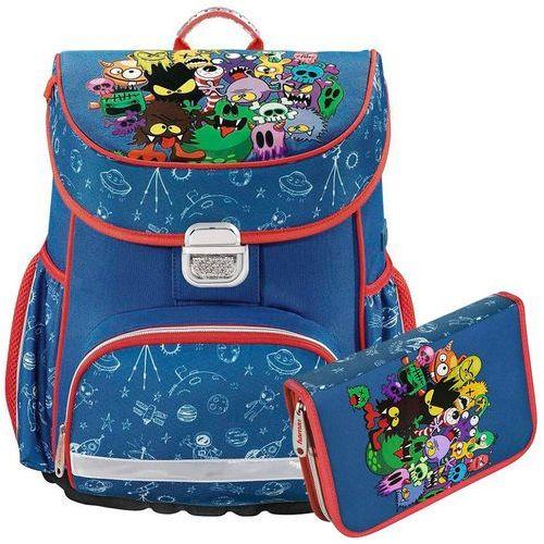 Hama zestaw szkolny tornister + piórnik z wyposażeniem / Monsters - Monsters, kolor niebieski