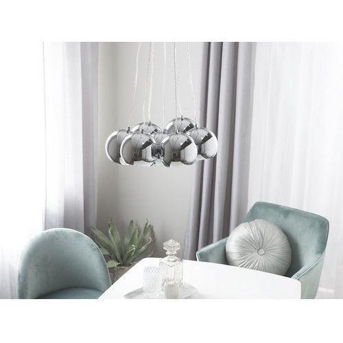 Lampa sufitowa wisząca - żyrandol srebrny - oświetlenie - OLZA