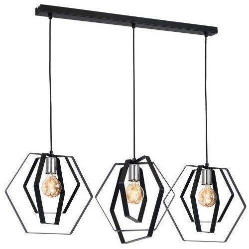 Luminex Hexagon 1299 lampa wisząca zwis 3x60W E27 czarny chrom