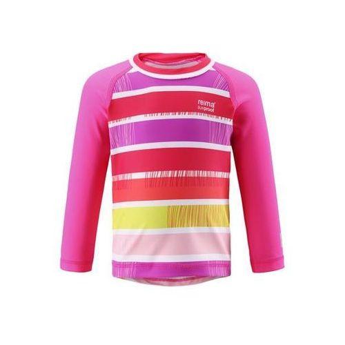 Reima Koszulka  kąpielowa borneo uv długi rękaw różowa (upreme pink) w paski (6420024997331)