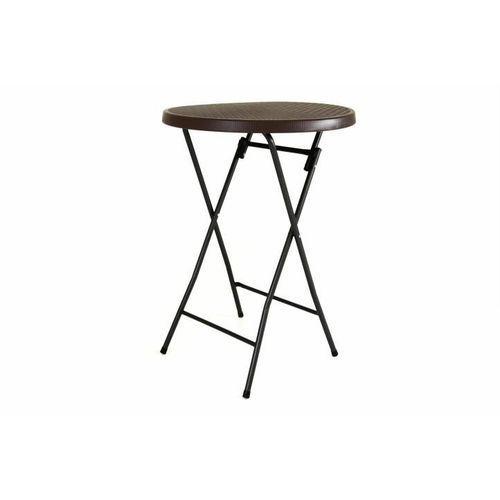 Ogrodowy barowy stół okrągły z ratanowym wzorem 110 cm - brązowy