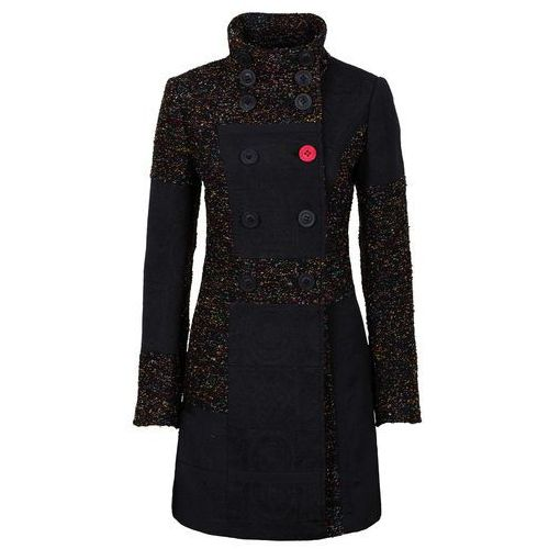 Płaszcz w połączeniu różnych materiałów i wzorów  czarno-kolorowy marki Bonprix
