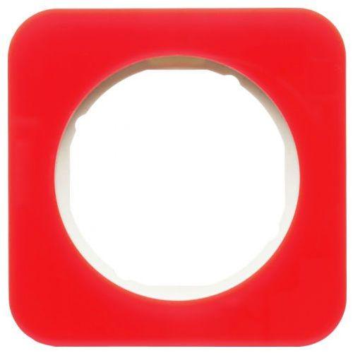 Hager - berker Ramka 1-krotna berker r.1 akryl przeźroczysty czerwony/biały