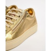 HUGO Futurism Leather Zip Trainers in Gold - Gold