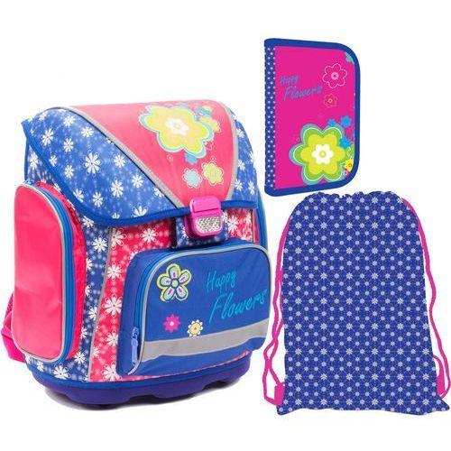 Karton P+P Zestaw szkolny plecak PREMIUM + piórnik + worek, w kwiaty (8595096701242)