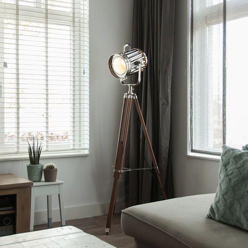 Lampa podlogowa Tripod Torch drewno z chromem