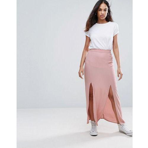 New look split front maxi skirt - pink