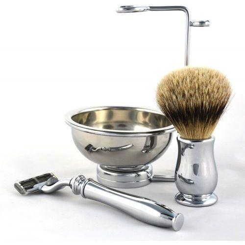 Ej chatsworth metal, zestaw 4 el. - pędzel silvertip, maszynka mach3, miseczka i stojak marki Edwin jagger