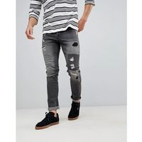 slim fit jeans with rip repair and patch details - grey, Only & sons