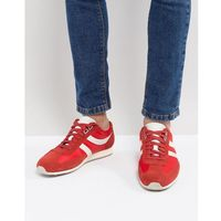 suede nylon mix trainers in red - red, Boss