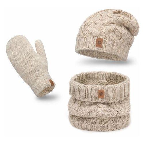 Ciepły komplet PaMaMi, czapka, komin i rękawiczki - Beżowy (5902934089432)