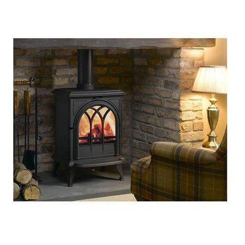 Stovax anglia -dobra oferta Kominek opalany drewnem huntingdon 35. wersja z dekoracyjnymi drzwiami. kolor matowy czarny.