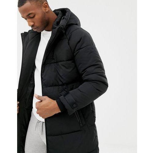 Bershka puffer jacket in longer length in black - Black, kolor czarny