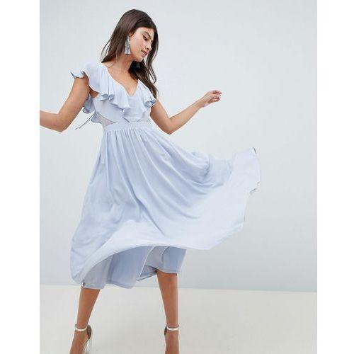 lace insert midi dress with ruffle bodice - blue, Asos design
