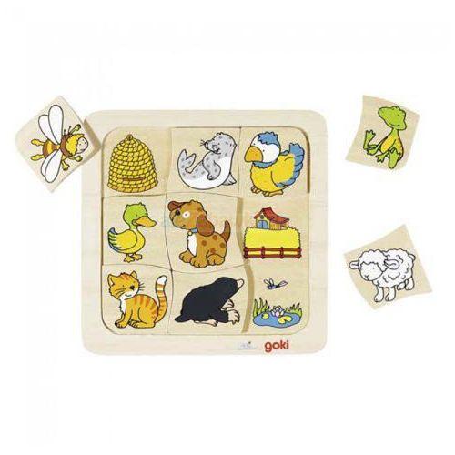 Drewniane puzzle gdzie mieszkają zwierzątka? -56881 marki Goki