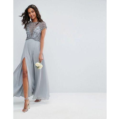 bridemaid delicate beaded bodice maxi dress - grey marki Asos