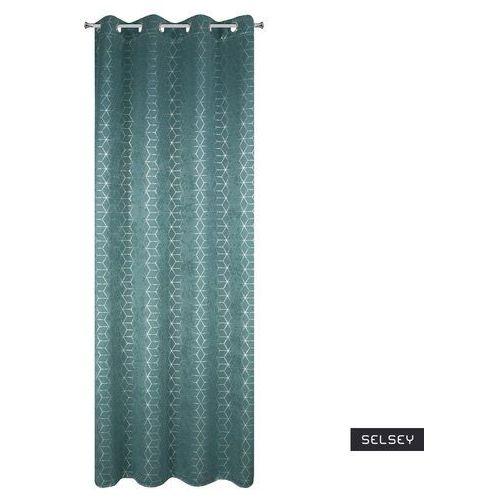 SELSEY Zasłona Carmag 135x250 cm zaciemniająca z geometrycznym nadrukiem (5903025477732)