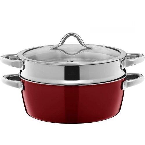 Garnek z wkładem do gotowania na parze i brytfanna Vitaliano Rosso, 2131284949