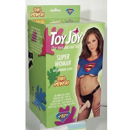 Gruba proteza penisa z jądrami na pasku Toy Joy Super Woman strap-on 9610