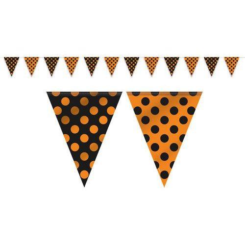 Baner flagi pomarańczowo - czarny w kropki - 365 cm - 1 szt. marki Unique